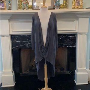 Grey drape front hi-lo top